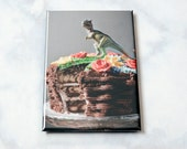 Fridge Magnet: Funny Trex and Cake • T-Rex Fridge Magnet • Stocking Stuffer • Gifts Under 5 • Kitchen Decor • Party Favor • Funny Magnet