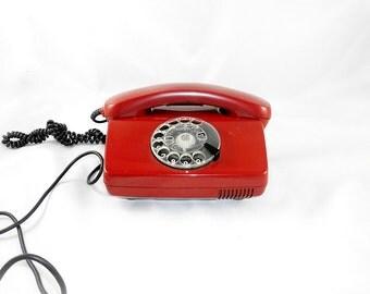 Vintage German Rotary Dial Phone Telephone 1970s