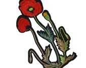 2 Iron On Embroidered Red Poppy Flowers Patches Appliques, Iron On Flowers Patches