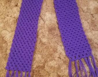 Crocheted Purple Scarf