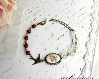 Cameo bracelet flowers Burgundy White crystals Bronze Romantic Vintage Inspired christmas gift for her gift for sister wife best friend