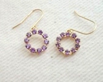 10K Yellow Solid Gold Amethyst Circle Earrings