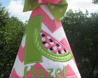 Pink watermelon  birthday hat,  party hat, 1st birthday smash hat,  2nd birthday party hat, birthday hat,  pink watermelon birthday