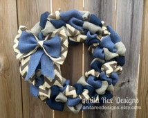 Blue Navy Burlap Wreath