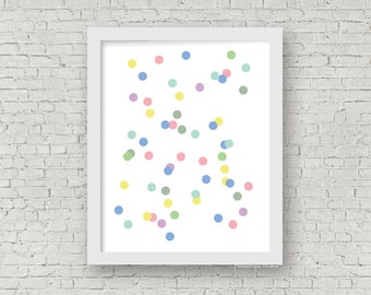 Polka Dots Print, Dots Print, Dots Poster, Modern Home Decor, Kids Wall Art, Rainbow Confetti, Children's Room Decor, Nursery Decor, 8 x 10