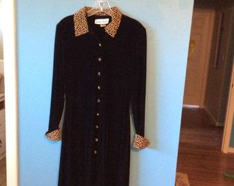 Vintage Black Velveteen RONNI NICOLE DRESS w/Leopard Trim Sz8