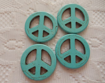 6  Turquoise Blue Peace Sign Magnesite Beads  25mm