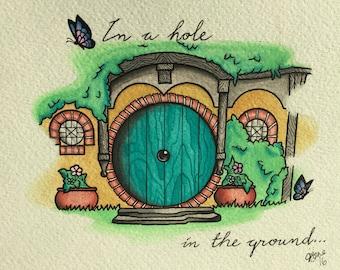 Hobbit Hole Water color Print