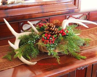 Woodland Christmas Antler Centerpiece / Arrangement