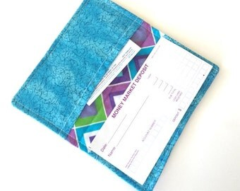 Fabric Checkbook Cover- Wallet, Coupon Holder- Purple Blue Green Diamond Pattern