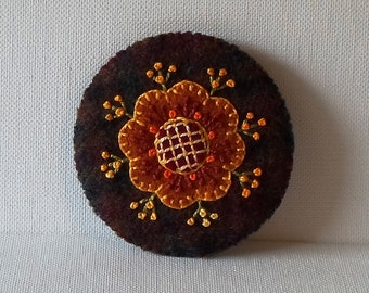 Hand Made Brooch Felted Wool Autumn Rose on Brown Plaid Wool