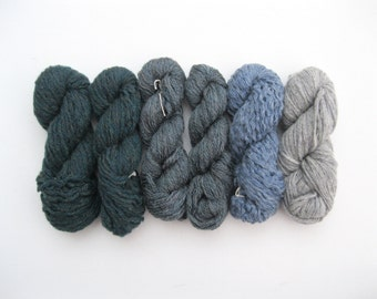 Destash Recycled Wool Mini Skeins, Worsted to Aran or Bulky Weight, Green, Blue, and Gray, 3.5 oz total