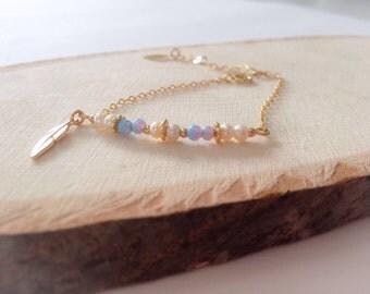 Gold filled bracelet   bracelet with pearls   bracelet with unique stones