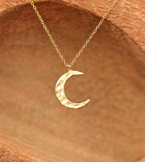 Gold crescent moon necklace - silver moon necklace - hammered moon charm - half moon - a gold vermeil moon charm on a 14k gold vermeil chain