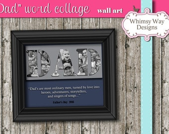 Dad word collage wall art printable father's day