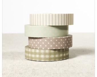Grey Taupe Patterns Washi Tape Set 4pk - Classiky
