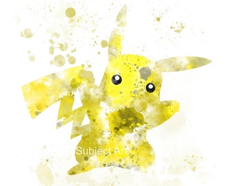 Pikachu inspired ART PRINT illustration, Pokemon, Gaming, Wall Art, Home Decor, Anime,
