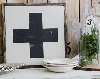Swiss Cross sign, strength bible verse, inspirational art