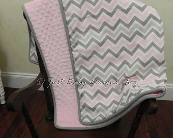 Baby Blanket - Pink Gray Chevron and Light Pink Minky Dot