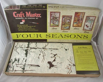 Craft Masters  Four Seasons Paint By Number Kit Oil Partially Completed 1960s