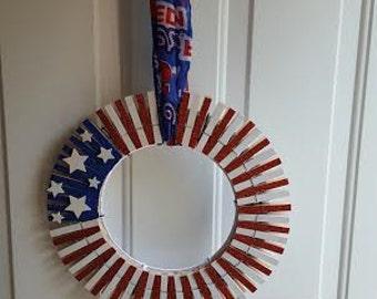 July 4th Patriotic Clothespin Wreath