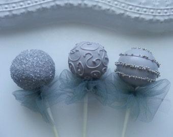 Gray Cake Pops, Engagement Party Cake Pops, Grey Cake Pops