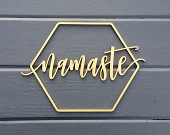 """Namaste Geometric Wall Sign, 14""""W x 10""""H, Wooden Sign Art for Nursery Decor Bedroom Kids Room Teen Room Laser Cut Wood Sign Relax Chill"""