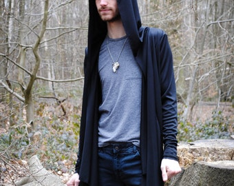 Wolfsbane - unisex draped front cardigan with large hood