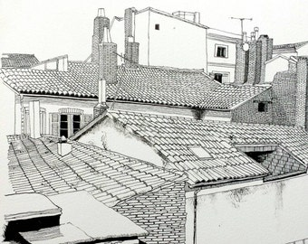 Toulouse rooftops, pen & ink on watercolour paper (A3)