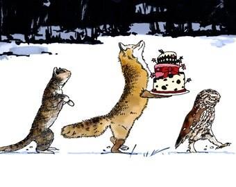 Owl, fox in winter art print, 210 x 297 mm (A4)