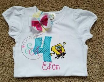 SpongeBob birthday Shirt, SpongeBob shirt, personalized birthday shirt, SpongeBob