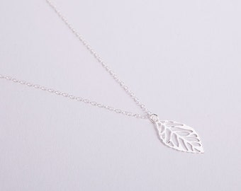 Silver Plated Necklace Leaf Silver Leaves Filigree Fine Silver Leaves