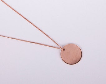 Long Rose Gold Plated Necklace Disc Rose Gold Ring Circle Coin Golden Necklace