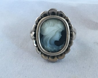 Vintage Cameo and Sterling Silver Ring