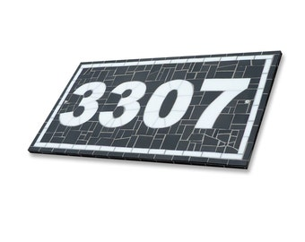 Custom Large Mosaic Outdoor House Numbers in Black and White Stained Glass