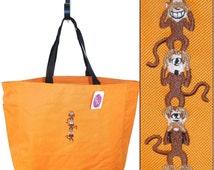 Monkey Stack Essential Style Tote Three Monkeys Monogram Custom Embroidered Zoo Bag See Hear Speak No Evil