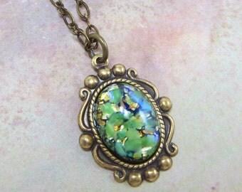 Green Opal Necklace Pendant Peridot Green Fire Opal Necklace Jewelry Fantasy Mystical Jewelry