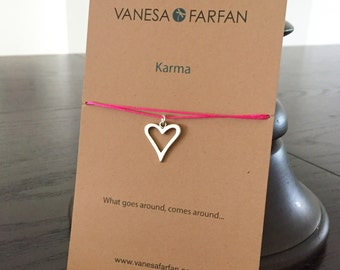 Friendship Necklace, Karma Heart Choker, Silver, for Kids, Girls and Women, Adjustable, in 16 Colors