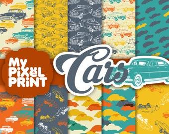 Cars - Orange Blue Yellow - Travel - Digital Scrapbooking Paper Pack - My Pixel Print