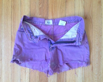 Purple High Waisted Denim Shorts VINTAGE Size S/M