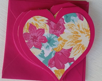 Set of 6 Heart Shaped Blank Cards with Matching Envelopes