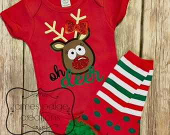 Girls Christmas Outfit - OH DEER Baby Girl CHRISTMAS, Reindeer, Sparkle Holiday Shirt Christmas Outfit for Girl Santa Outfit Rudolph