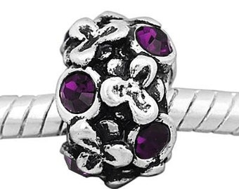 European Charm Bead For All Large Hole Charm Bracelet And Necklace Chain. Crystal-Purple-Flowers-8x12mm