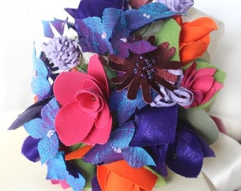 Fabric Bouquet, Colourful Wedding Bouquet, Hydrangea Rose Thistle Bridal Bouquet, Orange & Purple Cotton Anniversary Gift, Made to Order