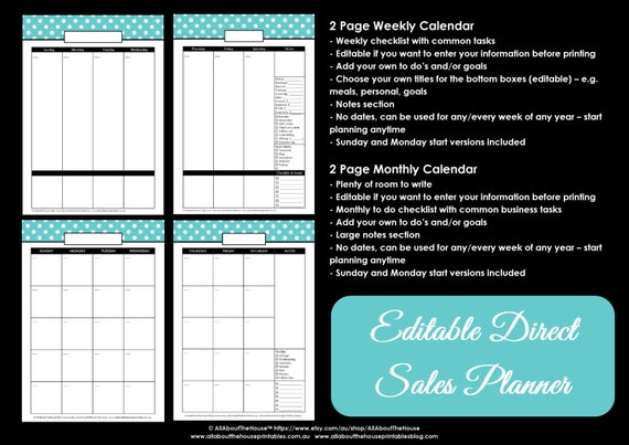 direct sales calendar and weekly planner printable polka dot