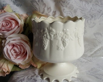 Vintage 1940s White China Grape Design Compote/Vase By Lefton