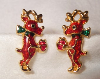 Vintage Reindeer Post Earrings Holding a Gift with Green Scarf  Red Resin in Gold Tone Metal