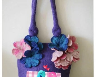Handmade Felted bag With bug felted flowers (Red/ Purple)