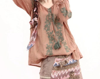 Woman embroidered very soft cotton top green embroidery