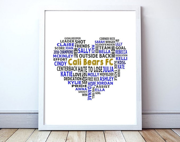 Love Soccer, Team Gift - Custom Love Heart Typography Poster Print